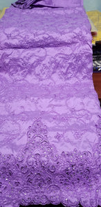 Special sale: small-George in  lilac taffeta Silk Embriodery George wrapper + 1.8yds matching net blouse. Quality embriodery work with Crystal stones