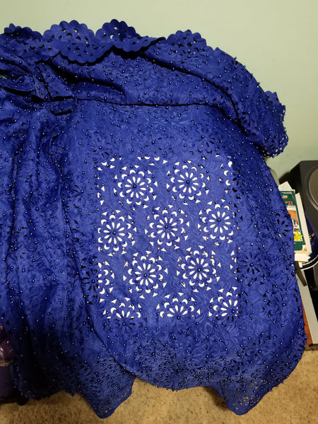 New arrival Laser Cut African French Lace fabric.  Top quality fabric Beaded  and stoned to perfection.  Sold per 5yds. Price is for 5yds. Nigerian party lace fabric for dresses
