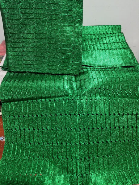 3pcs set Nigerian Green Aso-oke Gele/Ipele (shoulder shawl) and a piece for making mens hat . Sold as a set. Excellent quality Aso-oke from Nigeria use for making women gele or headtie. Sold as a set. Contact for Aso-ebi order