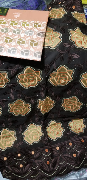 Bonus sale: Chocolate/peach original Swiss lace fabric for making Nigerian party outfit for men and women. Coffee brown  background. Sold as 5yds+ free headtie and price is for 5yds.