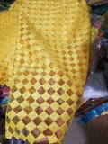 Sale: African French lace fabric in verbrant yellow. All over crystals stones. Sold per 5 yards.