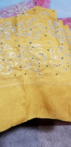 Clearance Nigerian woven cotton Aso-oke for making Gele. Latest Bedazzled Aso-oke design for special occasion. GOLD aso-oke is sold as Gele only and price is for one gele.