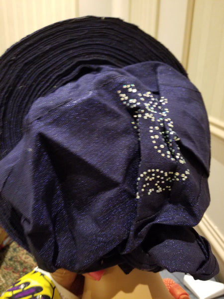Navy Blue Auto-gele. Nigerian aso-oke made into auto gele. beaded and stoned. Party ready in less than 5 minutes. One size fit, easy adjustment at the back. Quality auto-gele