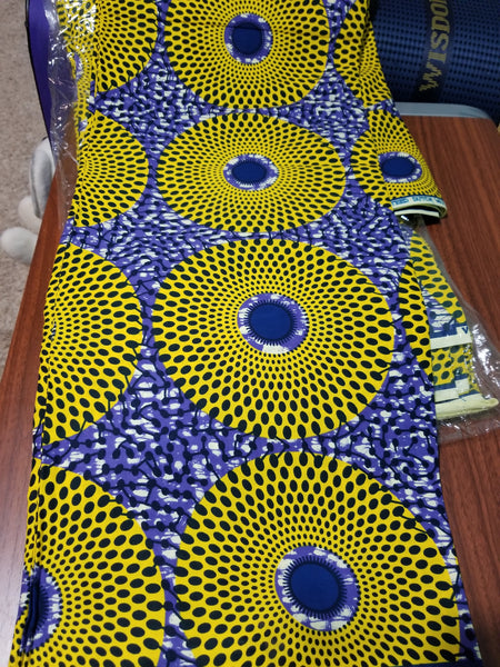 Veritable African wax print fabric. Sold per 6yds. Price is for 6yds soft texture, excellent quality