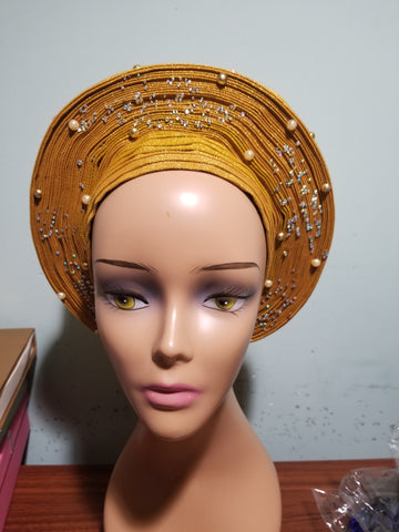 Gold Auto-gele. Nigerian aso-oke made into auto gele. beaded gele. Party ready in less than 5 minutes. One size fit, easy adjustment at the back