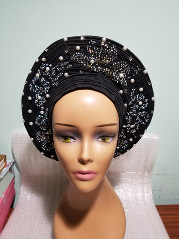 Clearance: Black beaded and stoned auto-gele. Wahala free gele aleeady made for you. One piece with adjustment to fit at the back