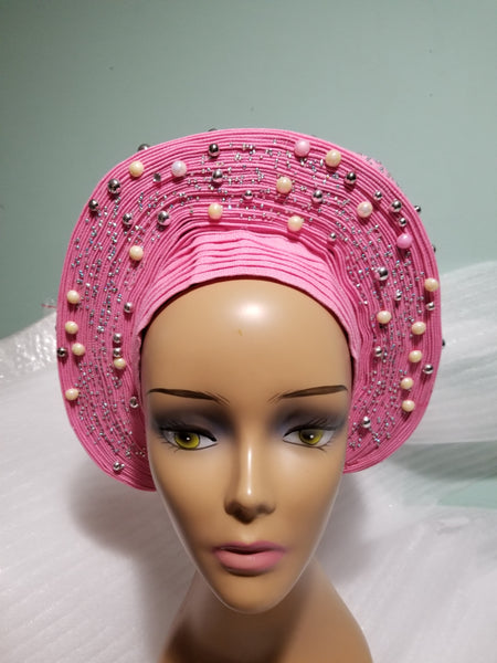 Sweet baby pink  Auto-gele made with quality Aso-oke. Silver stoned work to perfection.  One size fit, easy to adjust for fit and knot at the back to secure your gele. This is true original auto gele