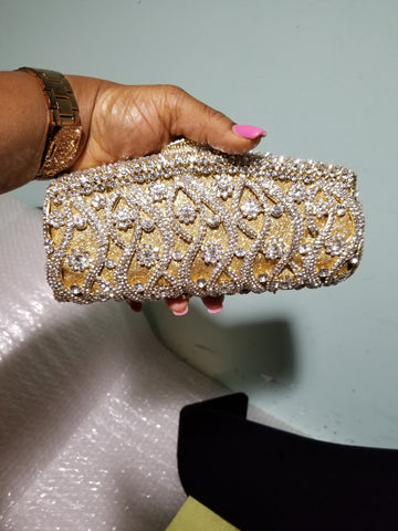 "Sale Quality evening hand clutch. Crystal Clutch/purse. 8"" long x 5"" wide. All over dazzling crystal stones. Gold/silver crystal stones"
