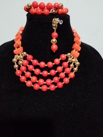 Clearance item: beaded coral-necklace set. Made with coral beads. Multi roll Edo/Nigerian traditionsl coral necklace