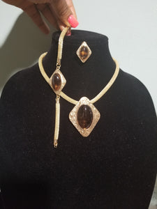Clearance: 18k high quality Gold plating Dubai Jewelry set. Beautiful brown stone settings. 3piece necklace, earrings, bracelet matching set. African party Jewelry set. Quality, hypoallergenic plating