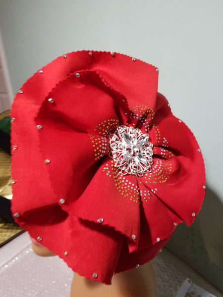 Red color Women-turban. One size fit all turban. Beautiful flower design/ crystal stones with a side brooch to add decor to your turban