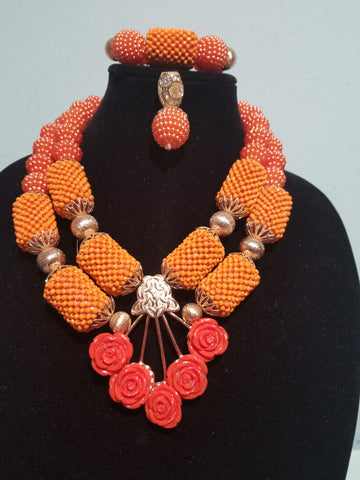 Clearance: back in stock orange beaded coral-necklace set in 2 rows. Orange pendant for a beautiful look. Sold as a set