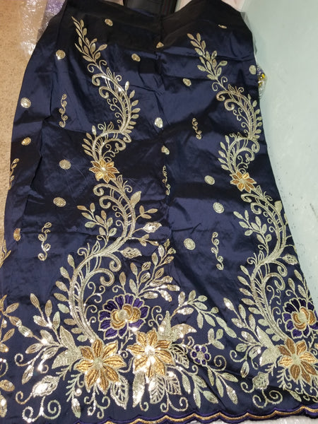 Clearance item: Navy blue taffeta silk Embriodery Geoge fabric. Original quality George for making African party dress. Indian-George sold per 5yards and price is for 5yds. ideal for 1st putting outfit for edo/Igbo traditional wedding