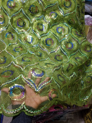 Clearance: Lemon green sequence net French lace fabric for making Blouses for wrapper or dresses. Igbo/Delta/Edo women blouse fabric. This is about 2yrds total piece for sale. Can be use to combination style. 5yds lenght,
