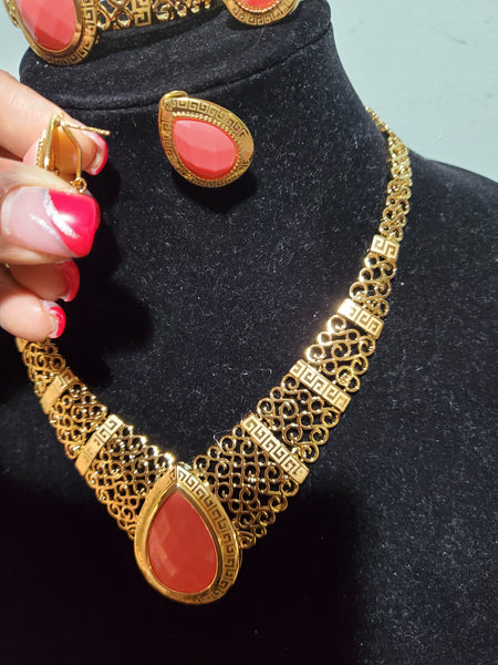 18k gold-plated high quality 4pcs necklace set. Jewelry Choker set for church and party wear. Coral bead stone set.  Necklace, earrings,ring, & bangle. High quality & hypoallergenic plating