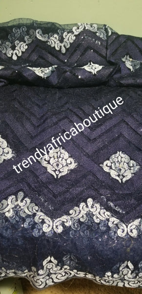 New Arrival African Lustrouse quality French Lace fabric for Nigerian/African Party wear. Sold per 5yds. This is Navy blue/sky blue embriodery/sequence lace