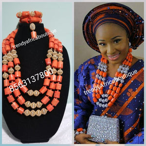 Edo/Benin Original traditional coral beaded-necklace  set. 3 roles with bracelets and earrings. Ideal for celebrant
