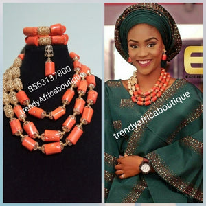 New arrival coral-necklace set. Latest 3 rows Nigerian celebrant beaded necklace set. Coral/gold color