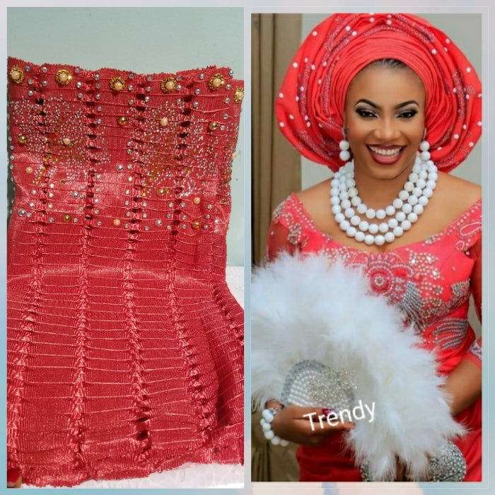 Beaddazzled Aso-oke Gele in sweet coral color. Super quality Nigerian Traditional Aso-oke Gele for a beautiful headwrap. Sold as Gele only