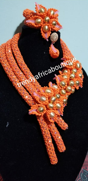 Sale sale: Classic Peach hand made 3 rows Nigerian/African design Celebrant beaded Necklace set. 3 row coral-necklace set for Nigerian Bride.