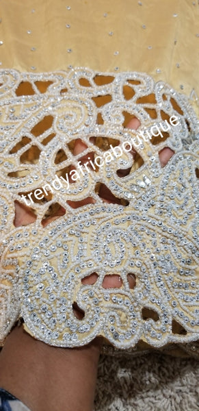 Sale: VIP New Arrival Original Silk George wrapper. Gold color hand  Stoned/hamd cut work to perfection for that special Nigerian Ceremonies. For Igbo Traditional wedding Bridal outfit. 5yds wrapper and 1.8 yrds matching blouse