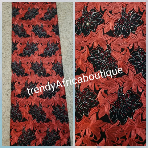 Quality Red/black Swiss lace fabric for African party. Embellished with Dazzling red &silver crystals. Sold 5yds