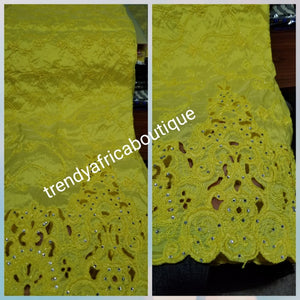Special Sale: Quality Embroidery Silk George wrapper sweet Yellow  Color. Full 5yard and 1.8yds matching blouse fancy Indian-George for making Nigerian/African party dresses