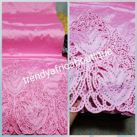 Special sale: high quality embroidered Taffeta Silk George wrapper with matching 1.8yds blouse. Use for  African wedding/party dress. Sold with blouse fabric. Small-George