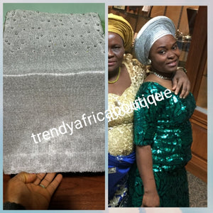 Latest Beaddazzled Nigeria/African Aso-oke gele Native head wrap with beaded boarder. Gele  ony