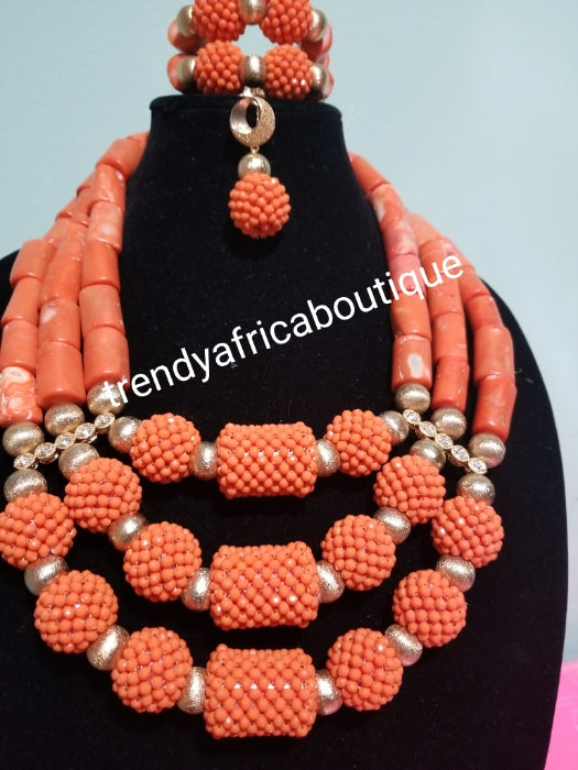 Sale sale: Original Edo/Nigerian women Coral-necklace set. 3 row  latest cora bead set for African Celebrants.