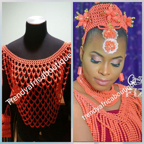 Edo/Igbo Nigerian traditional Bridal Coral bead shawl/blouse  for traditional wedding. Bridal accessories for ceremoney. Coral-necklace Shawl.