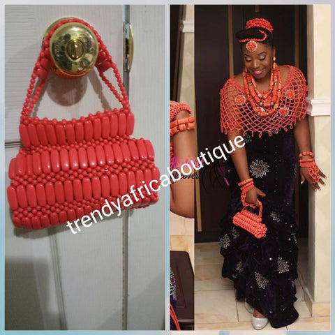 Edo/Benin Bridal accessories for traditional wedding. Coral hand clutch for bride. All hand made. We also have coral-necklace