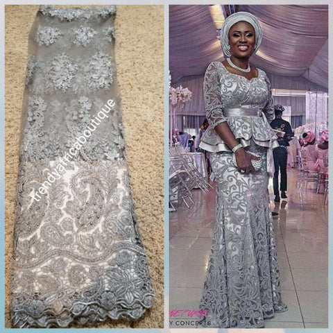 New arrival silver/Gray net French lace. Swiss Quality lace stoned with pearls and crystal. Sold per 5yds. Nigerian french lace fabric. Rich quality for wedding dress