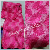 Sale: Hot pink African french lace fabric. Original quality. Use to make Nigerian party dress. Sold per 5yards.