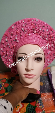 Pink Auto-gele. Nigerian aso-oke made into auto gele. Silver color, beaded and stoned. Party ready in less than 5 minutes. One size fit, easy adjustment at the back