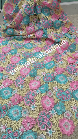 Clearance: Multi color African Cord-lace fabric. guipure-lace fabric. Quality fabric.  Sold per 5yards