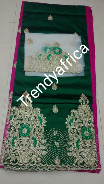 Assorted Colors Embriodery Silk George wrapper with matching net blouse. Indian-George for Nigerian  party dresses. Small-George