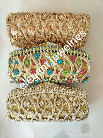 "Clearance: Quality evening hand clutch. Crystal Clutch/purse. 8"" long x 5"" wide. All over dazzling crystal stones. Multi color stones"