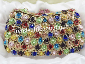"Multi color crystal Stones hand Clutch/purse for ladies formal party/evening party. 7.5"" long×5.5"" wide"