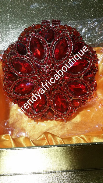 "Clearance Red Crystal Clutch\purse for weddings. Hand held clutch 7""×7"""