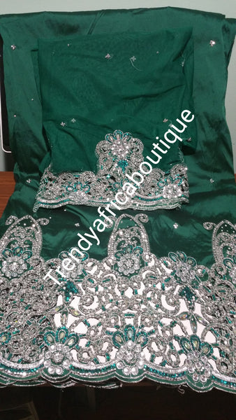 Beautiful Green George Wrapper & matching net blouse in quality Taffeta silk. Hand Stoned quality Nigerian/Igbo George wrapper