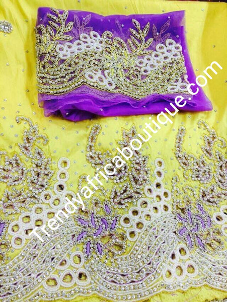 Original quality Hand stoned silk George wrapper for Nigerian Traditional weddings.. 5yds+ 1.8yds Matching blouse for Igbo bride