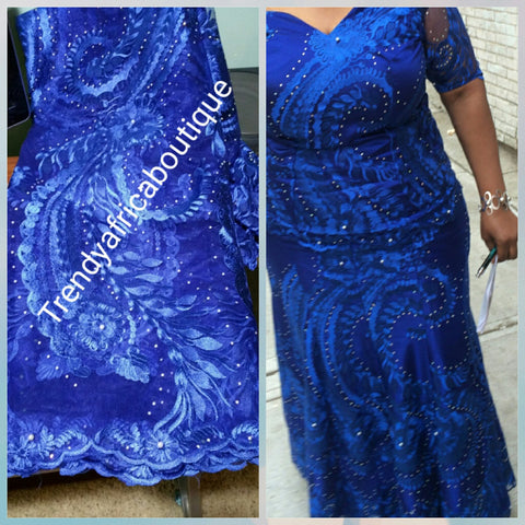 African french lace fabric in Royal blue. All over crystal stones. Nigerian lace fabric for making party dresses. Sold per 5yds.