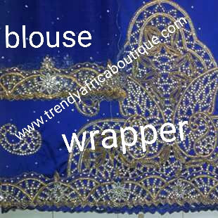 Royal blue Nigerian Traditonal wedding VIP George wrapper. Full hand stones work. Wrapper & matching blouse. Sold as a set