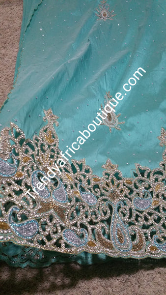 Aqua blue heavily hand Stoned Igbo/Nigerian women Celebrant George wrapper. 5 yards length. All over hand stones with hand cutwork stone border