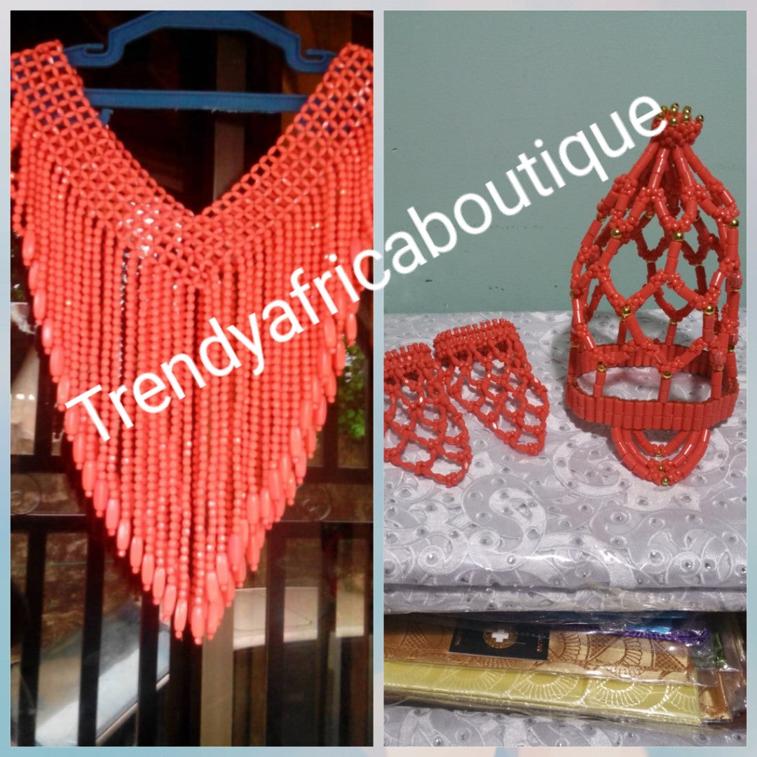 Back in Stock. Edo/African Bride: traditional Coral beads Bridal accessories set. 3pcs set of shawl, head piece and a pair of coral hand gloves. Coral-necklace