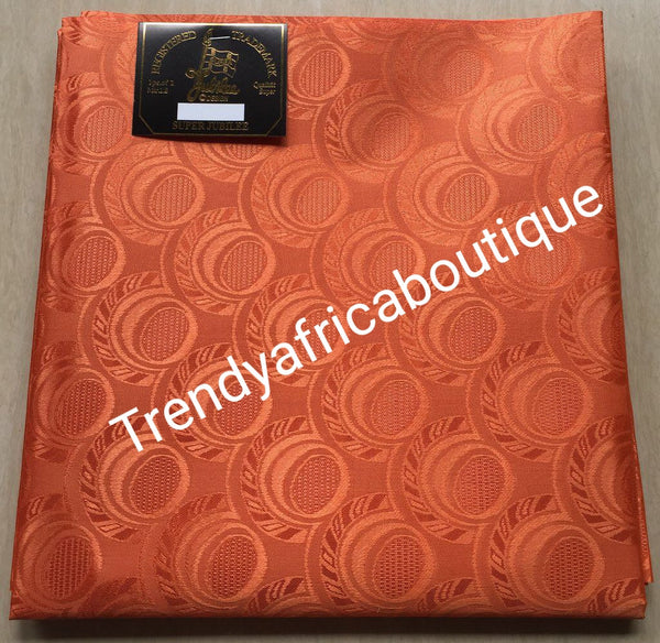 Orange Nigerian headtie/help headwrap fabric. Regular length gele. One in a pack. Soft easy to tie