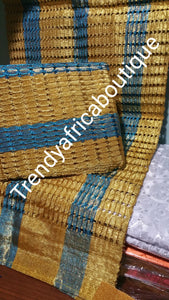 Gold/turquoise blue Nigerian  Aso-oke gele. Weave in Nigeria aso-oke for making beautiful Nigeria party headtie. Choice of gele/fila or gele only