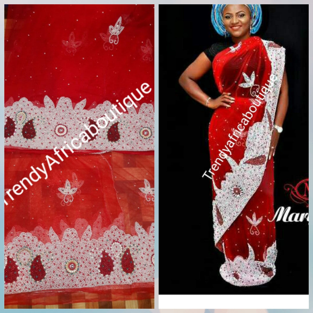 Heavily beaded net George wrapper. Red color net George for igbo/Nigerian tradional wedding/event