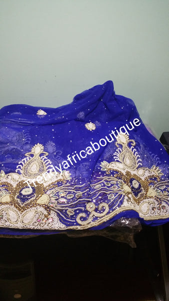 Clearance Sale: Royal blue VIP heavily Beaded and stones Net George wrapper for Nigerians/Igbo tradional wedding ceremony. Sold 6.5yds total